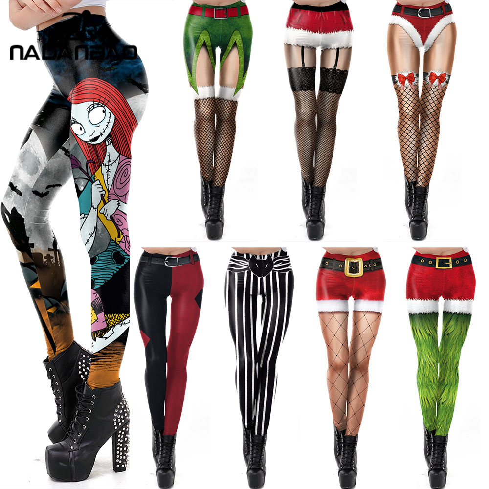 NADANBAO The Nightmare Before Christmas Leggings Halloween Classic Pants Women Workout Leggins Fashion Sexy Elastic Legins 1