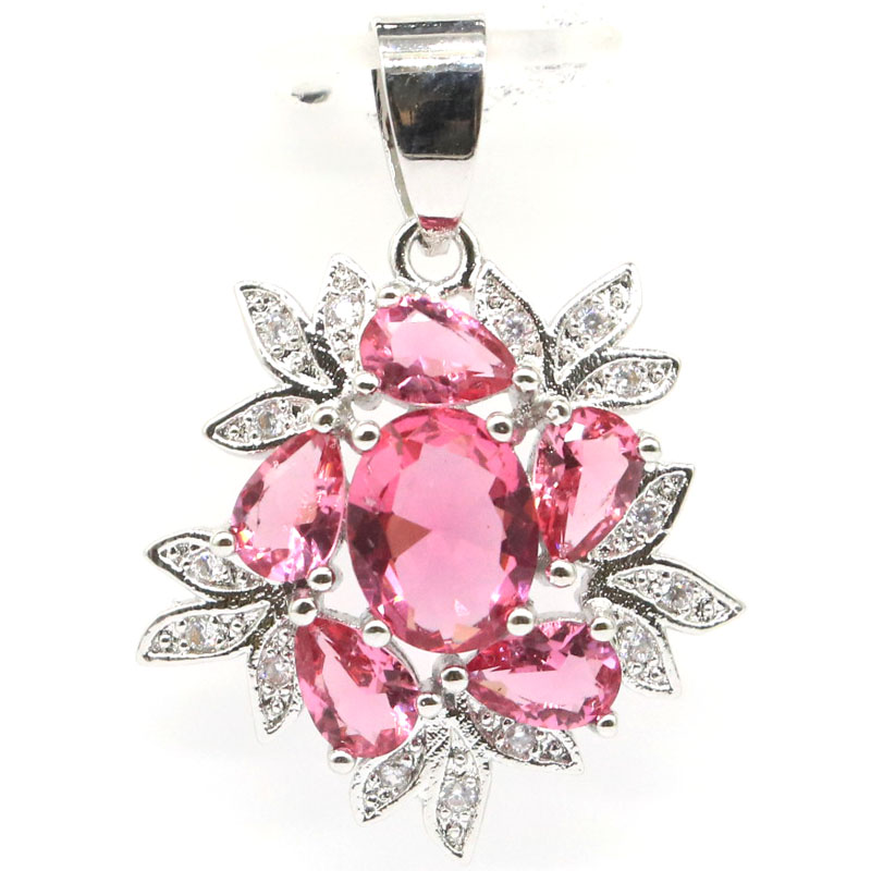31x22mm SheCrown New Arrival Created Pink Tourmaline Natural White CZ Gift For Sister Silver Pendant