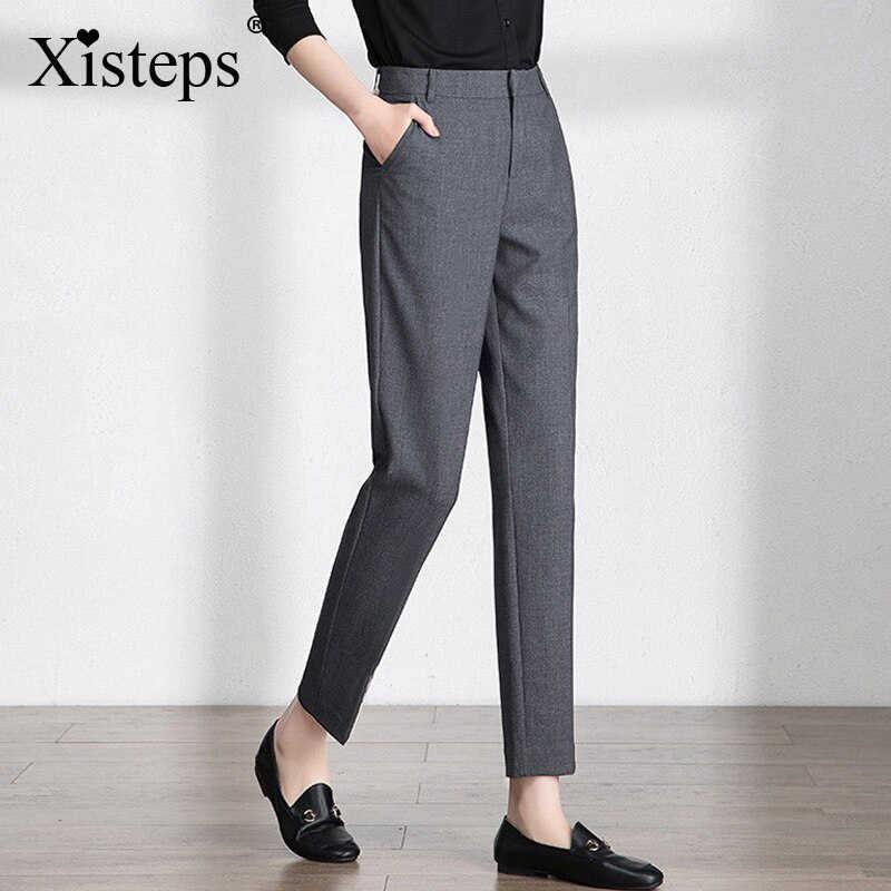 Xisteps Pantalones Formales De Negocios Para Mujer Ropa De Trabajo De Dama De Cintura Media De Talla Grande Color Negro Y Gris Novedad De Otono De 2020 Straight Trousers Pants Officewomens Formal Pants