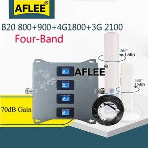 Усилитель сотовой связи B20 800 900 1800 2100 МГц, четырехдиапазонный Усилитель мобильного сигнала, ретранслятор сотовой связи GSM 2G 3G 4G DCS WCDMA LTE компл...