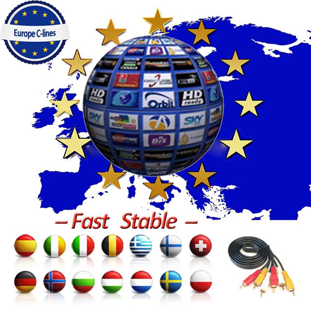 18 Monthes Egygold Europe DVB-S2 7 Cccam Clines For Spain Portugal Poland Germany GTmedia V8 Nova V9 Super Satellite Receiver