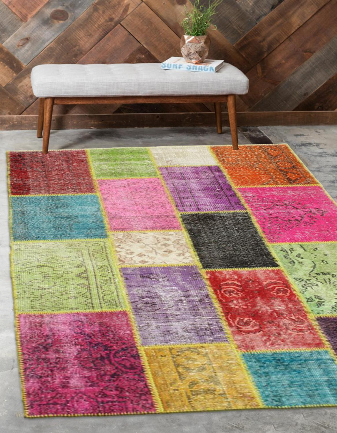 Else Multi Color Anatolian Patchwork Rug Turkish Handmade Organic Area Rug Decorative Home Decor Wool Patchwork Rug Carpet