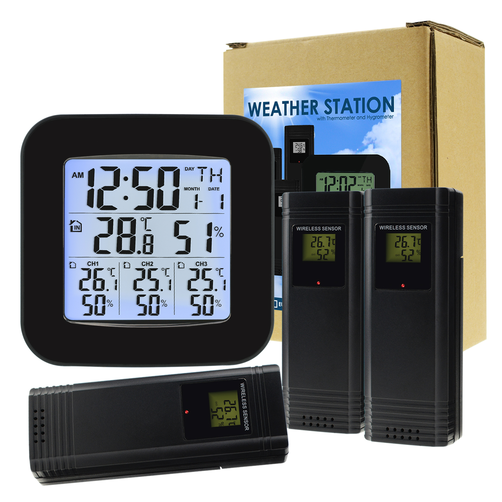 Digital Thermometer and Hygrometer with 3 Indoor Outdoor Wireless Sensors for Black LED on LCD Display