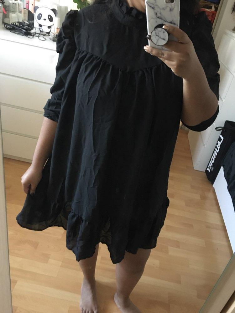 Hot 2019 autumn new fashion women's temperament commuter puff sleeve small high collar natural A word knee Chiffon dress reviews №2 182561