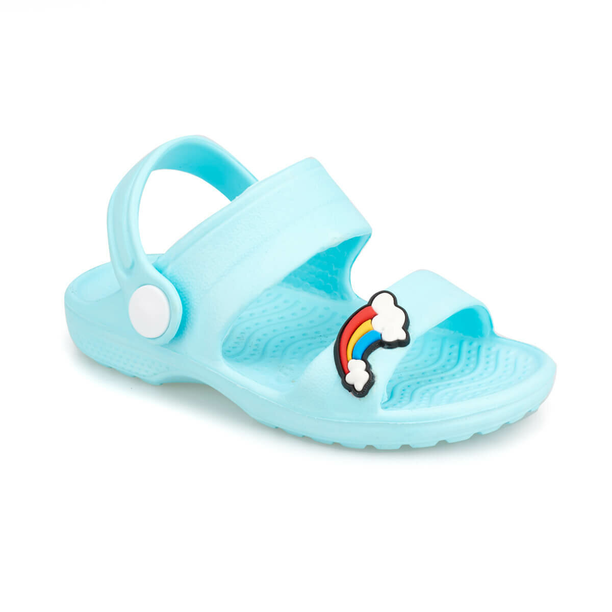 FLO Girl Sandals Light Blue Fashion Rainbow Details Slippers Durable Breathable Female Child Sea Sport Shoes Женские сандалии TEGY KINETIX