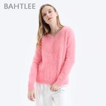BAHTLEE נשים אנגורה סוודרי סוודר טהור צבע סתיו חורף צמר סרוג Jumper ארוך שרוולים צווארון V חליפת בסיסי סגנון