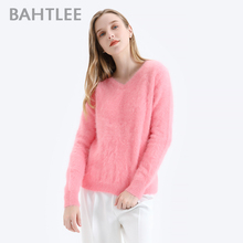 Bahtlee feminino angora pullovers camisola cor pura outono inverno lã de malha jumper mangas compridas com decote em v terno estilo básico