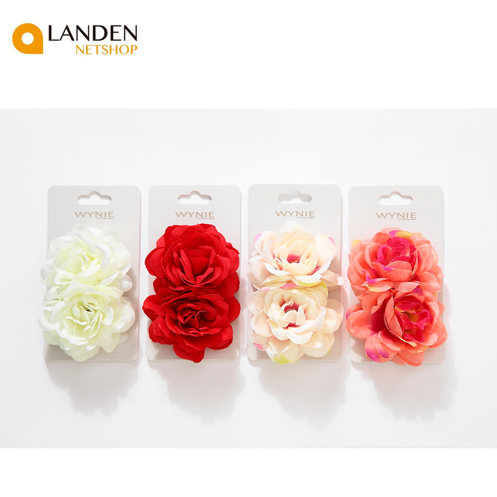 2 pcs/set rose Artificial flower pin brooch hairpin bridal wedding sets for party women Hair clips, hair accessories