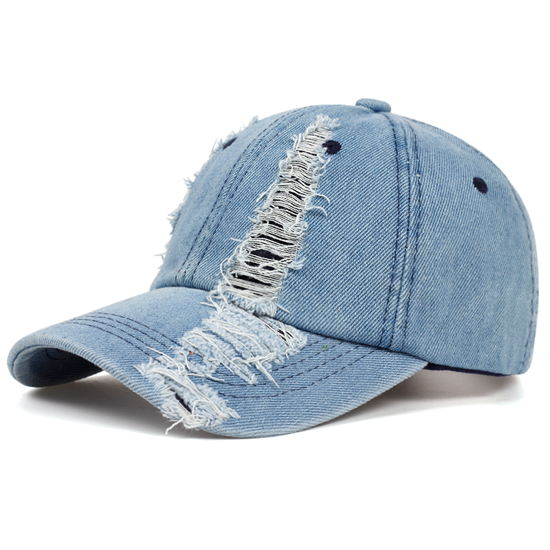 2019 spring and autumn fashion worn denim <font><b>cap</b></font> summer outdoor leisure visor hat trend hole <font><b>baseball</b></font> <font><b>caps</b></font> hip hop <font><b>sport</b></font> hats image