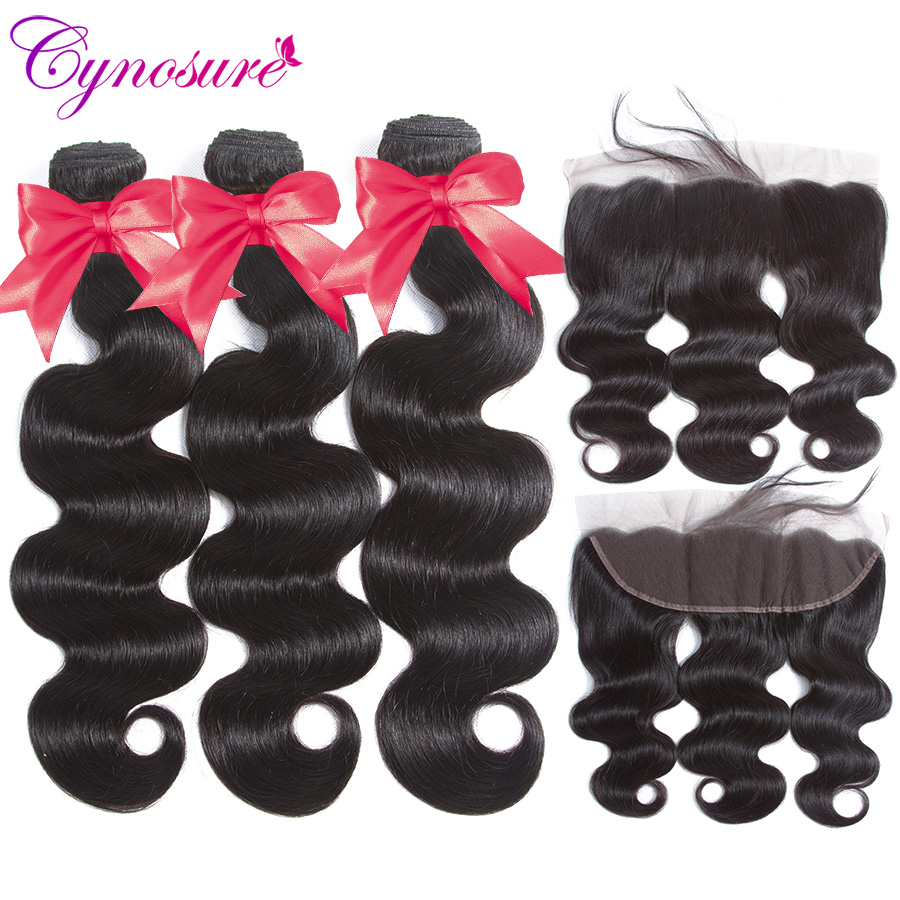 Cynosure Remy Human Hair 3 Bundles Brazilian Body Wave With Frontal Closure 13x4 Ear To Ear Lace Frontal With Bundles