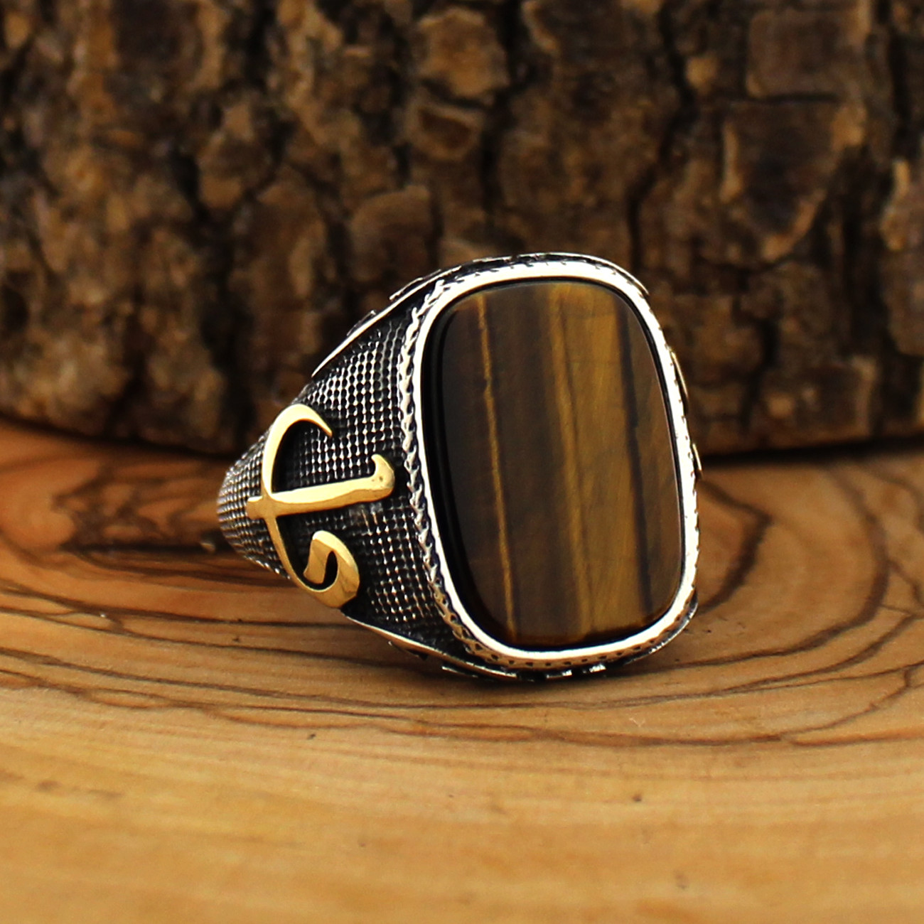 925 Sterling Silver Ring For Men With Tiger Eye Stone (Made In Turkey)