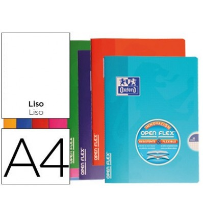 SCHOOL NOTEBOOK OXFORD BENDABLE COVER OPTIK PAPER OPENFLEX 48 SHEETS 90 DIN A4 SMOOTH ASSORTED COLORS 10 PCs