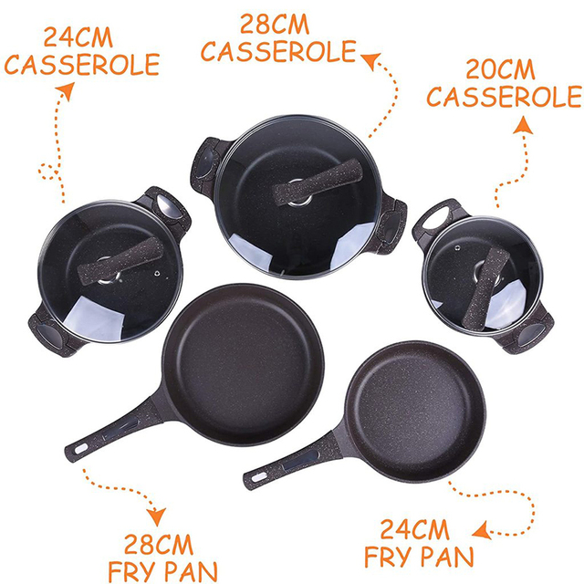 5pcs Stainless Steel Pots and Pans Sets, Classic Cookware Set 6