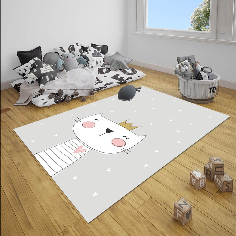 Else Gray Yellow Stars King Crown Cats Boy 3d Print Anti Slip Microfiber Children Baby Kids Room Decorative Area Rug Mat