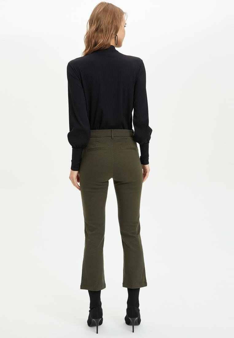 Defacto mulher primavera sólida cor nona calças femininas casual magro preto exército verde calças compridas senhora bottoms Trousers-I9930AZ18SP