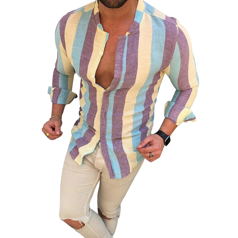 Newest Men's Fashion Colorful Stripe Shirts Printed Casual Slim Fit Long Sleeve Square Collar Vacation Male Social Business Tops