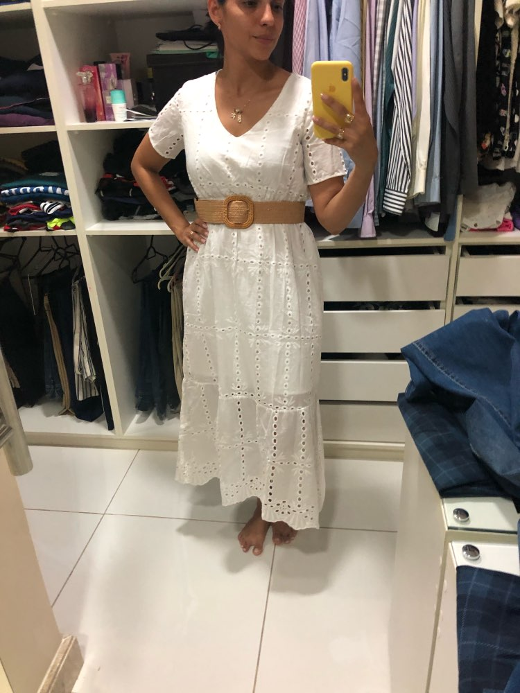 White Embroidered Cotton Ankle Length Dresses Women Summer Chain Hollow Out Slim A Line Long Dress Female Casual V Neck photo review