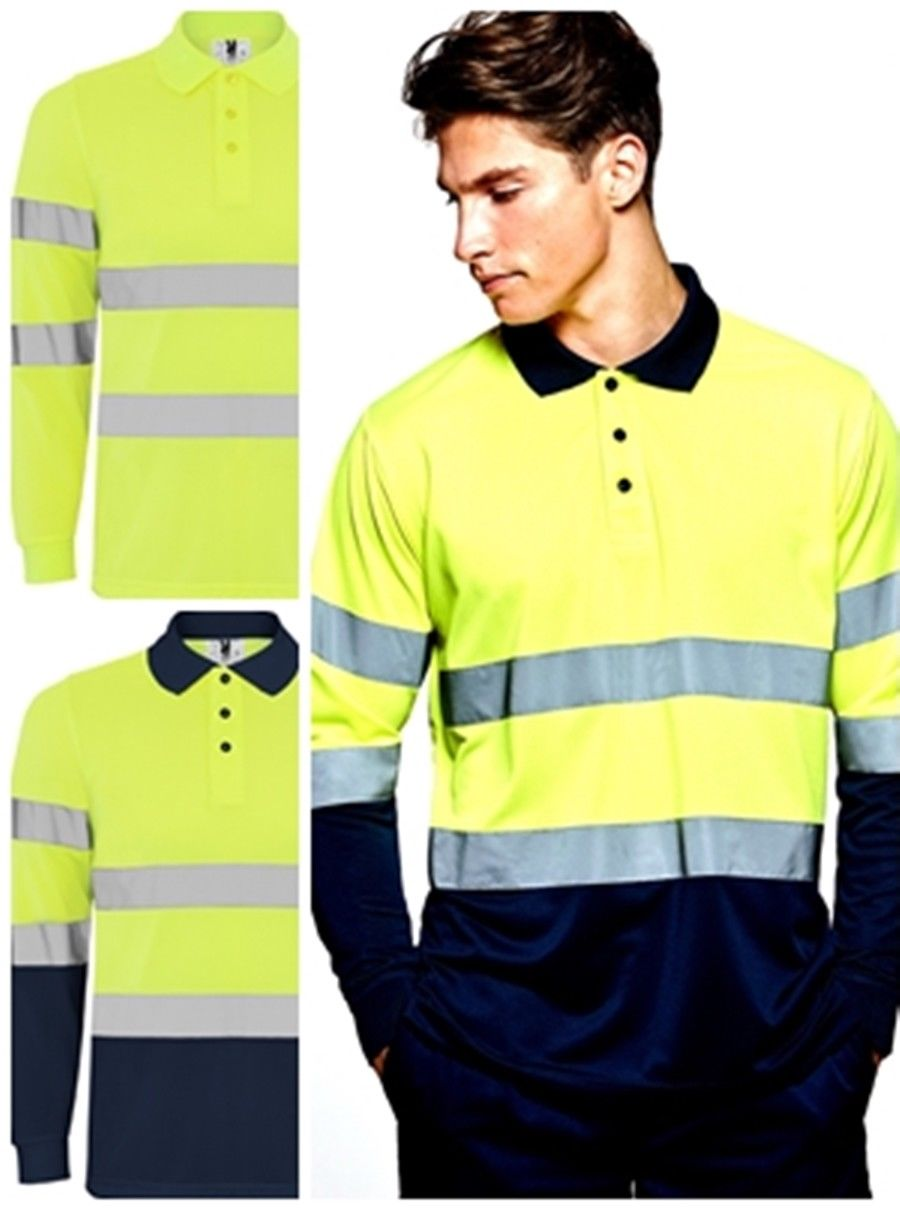 Long Sleeve Polo's High Visibility. Narrow Woven Reflective Piping On Body And Sleeves