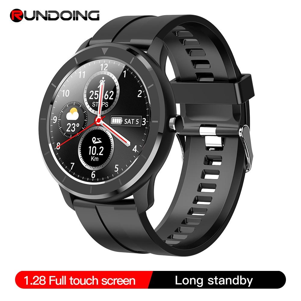 RUNDOING T6 Full touch round screen smart watch for men IP68 Waterproof  Blood pressure oxygen smartwatch for women
