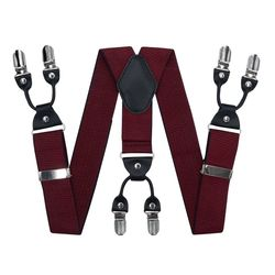 Suspenders for trousers wide (4 cm, 6 clips, Burgundy) 55137