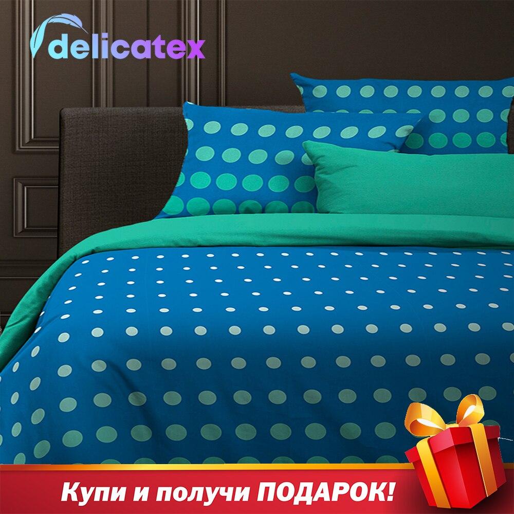 Bedding Set Delicatex 15186-3+11916-40DotSeaBlue Home Textile Bed Sheets Linen Cushion Covers Duvet Cover Рillowcase