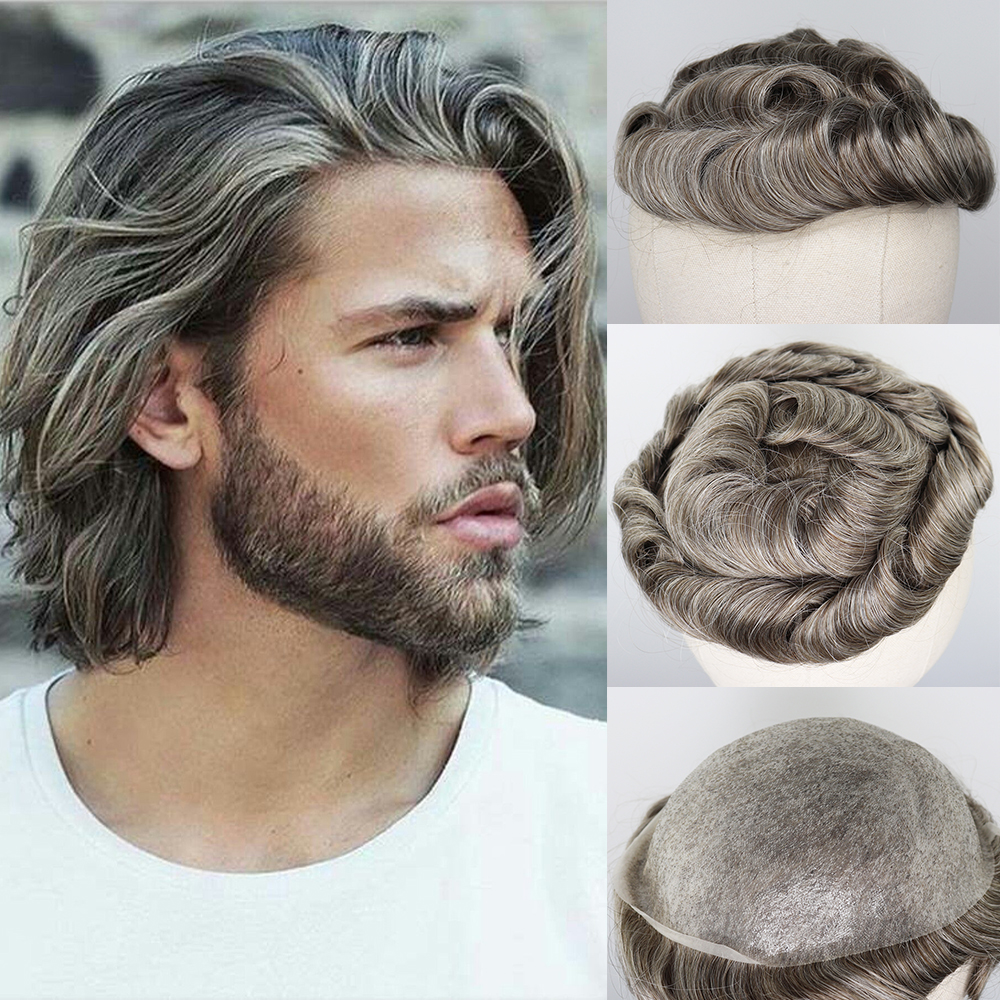 YY Wigs Brown Mixed Grey Human Hair Toupee For Men Wig Brazilian Remy Human Hair Replacement System Thin PU 8x10 Men's Toupee