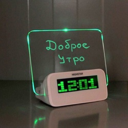 Alarm Clock, glowing LED alarm clock with message board for recording