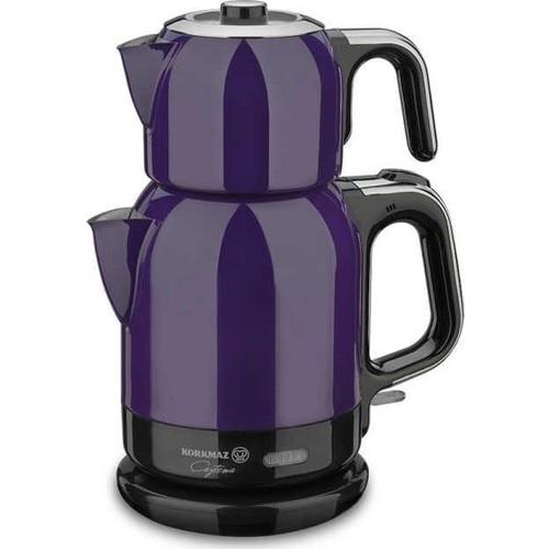 Korkmaz A331-01 Lavende Steel Tea Machine Turkish Electric Teapot, Tea Kettle Machine Maker, Samovari Turkish Tea Maker, Tea Urn