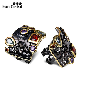 DreamCarnival 1989 Elegant Multi Zirconia Stud Earrings for Women Vintage Black Gold Color Gothic Unique Jewelry Dropship E10