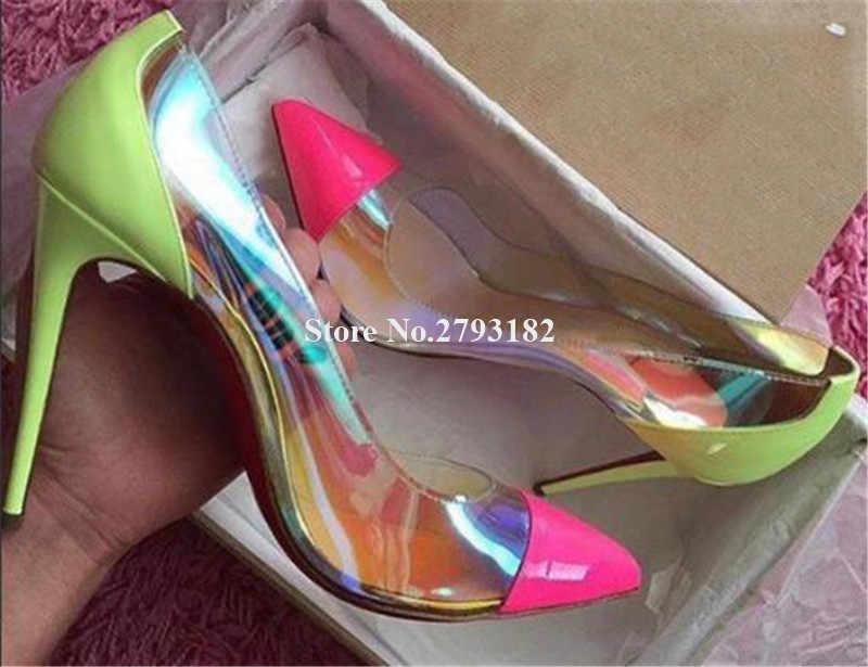 Kadınlar lüks sivri burun açık PVC Stiletto topuk yansıtıcı pembe pompalar sarı Patchwork şeffaf yüksek topuklu büyük boy ayakkabı