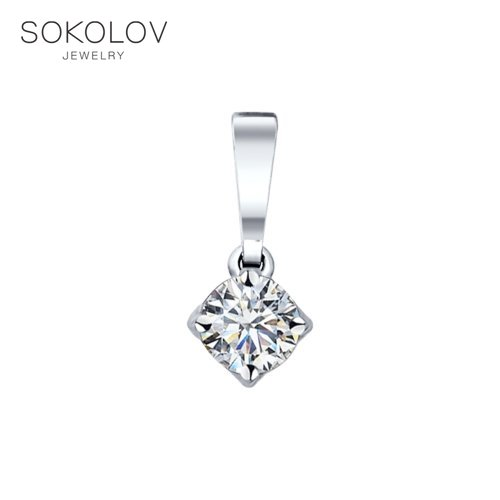 Pendant SOKOLOV Silver With Swarovski Zirconia Fashion Jewelry 925 Women's Male