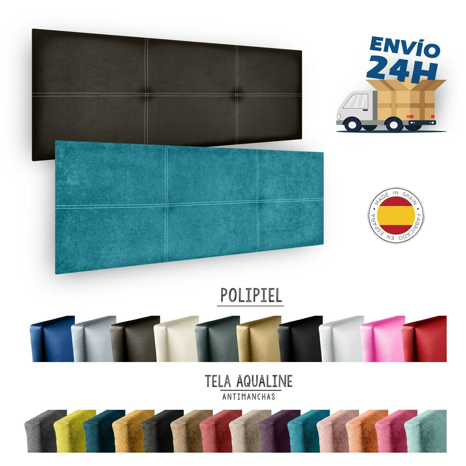 Cama de cabeceira modelo paris em costura duplo e estofados em couro sintético ahazar. Altura 50 cm.