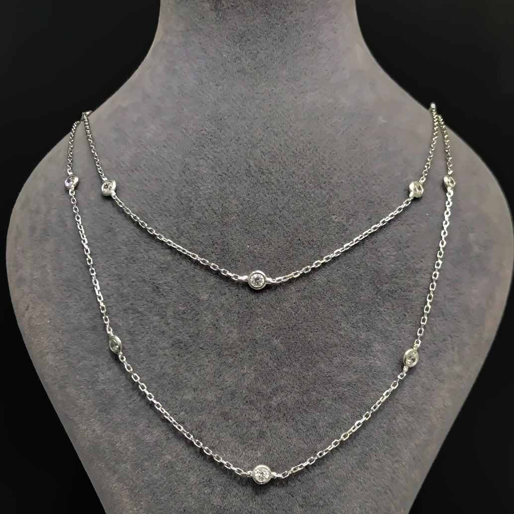 80 cm Tiffany White Stone Long Chain Silver Necklace