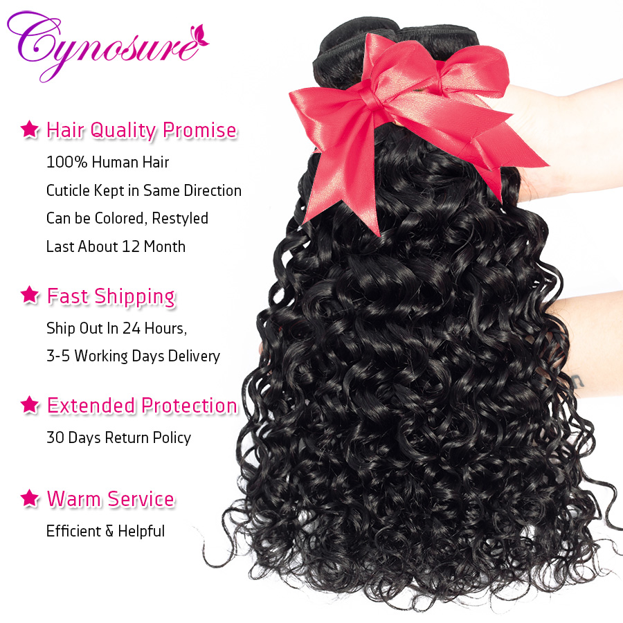 U5e60ead7698841ecb0734301fe58542dQ Cynosure Human Hair Water Wave Bundles with Closure Double Weft Brazilian Hair Weave 3 Bundles With Closure Remy