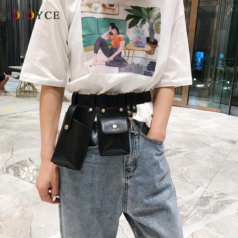 Punk Style Dual Pouch Women Belt Bag Keychain PU Leather Waist Bags Fashion Fanny Pack Letter Print Design Stylish Dual Packs