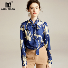 100% Pure Silk Womens Runway Shirts Bow Collar Printed Vintage Elegant Casual Blouse Tops Shirt