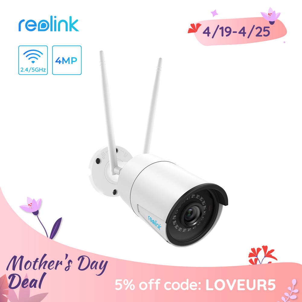 Reolink 4MP wireless ip camera wifi 2.4G/5Ghz Onvif infrared night vision waterproof outdoor indoor home surveillance RLC-410W