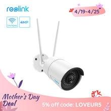 Reolink-cámara ip inalámbrica de 4MP, RLC-410W de vigilancia para el hogar, wifi, 2,4G/5Ghz, Onvif, visión nocturna infrarroja, impermeable, para interior y exterior
