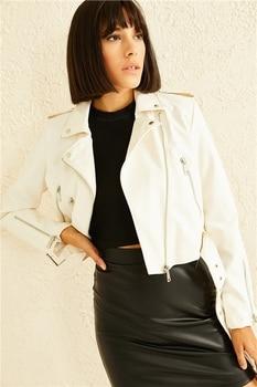 Cross Zipper Arched Leather Coats пальто женское косуха женская кожаная куртка
