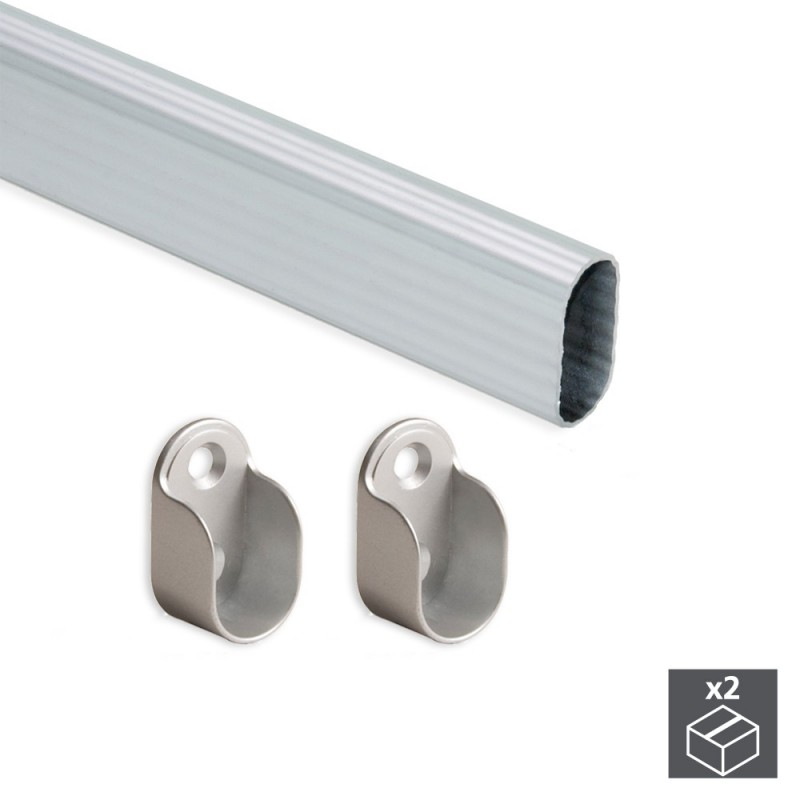 Kit Of 2 Tubes 30x15mm Aluminum Long 950mm & Holders Emuca For Wardrobe