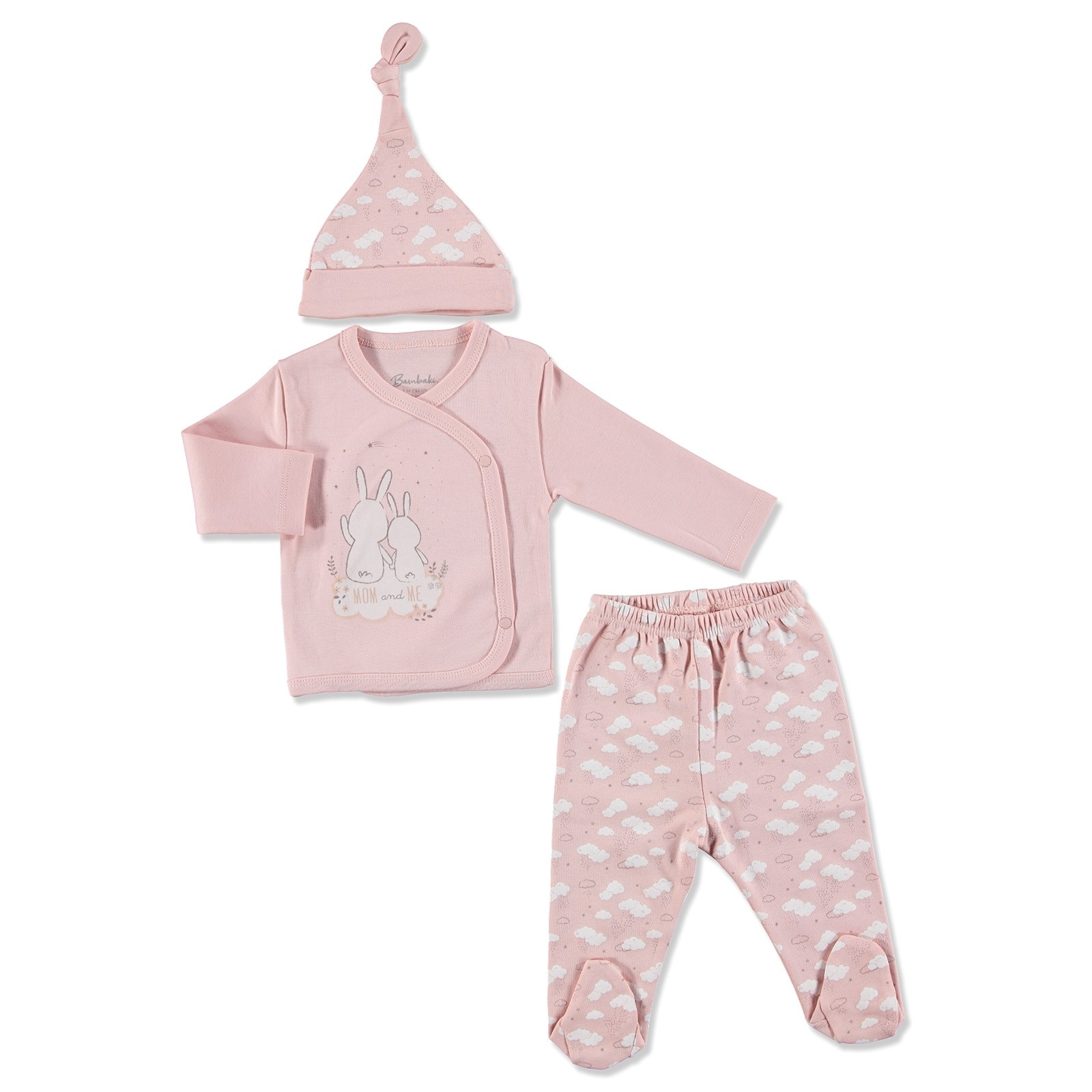 Ebebek Bambaki You And Me Baby Girl Bodysuit Hat Footed Pants