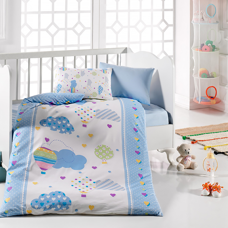 Lady Moda Baloon 4 Pcs Baby Bedding Set 100x150 Cm Crib Bedding Set 100% Cotton Cartoon Baby Bed Linen Set From Turkey
