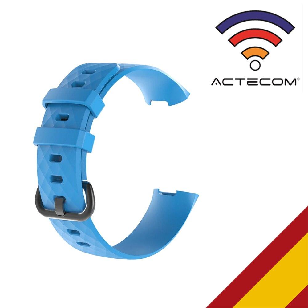 ACTECOM Correa De Reloj Para Fitbit Charge 3 Azul Pulsera Silicona Soft Calidad Pulseras De Reemplazo De Muñeca Fitbit Charge 3