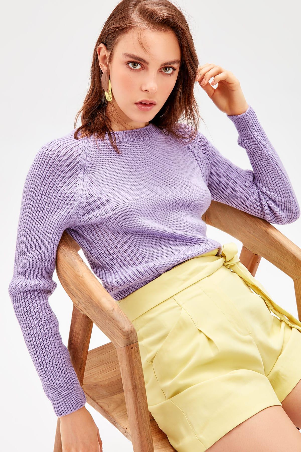 Trendyol WOMEN-Lilac Bike Collar Knitwear Sweater TWOAW20FV0047