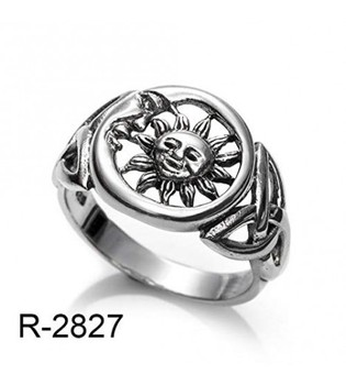 Ring Sun and Moon Wicca Celtic Solid Silver ring, Made in Spain (14)