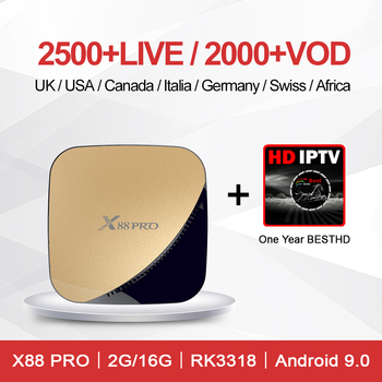 Apkintvbox Best HD TV with X88 Pro Android 9.0 2G 16G Smart TV Box UK French Arabic USA Countries one Year Media Player Smart TV