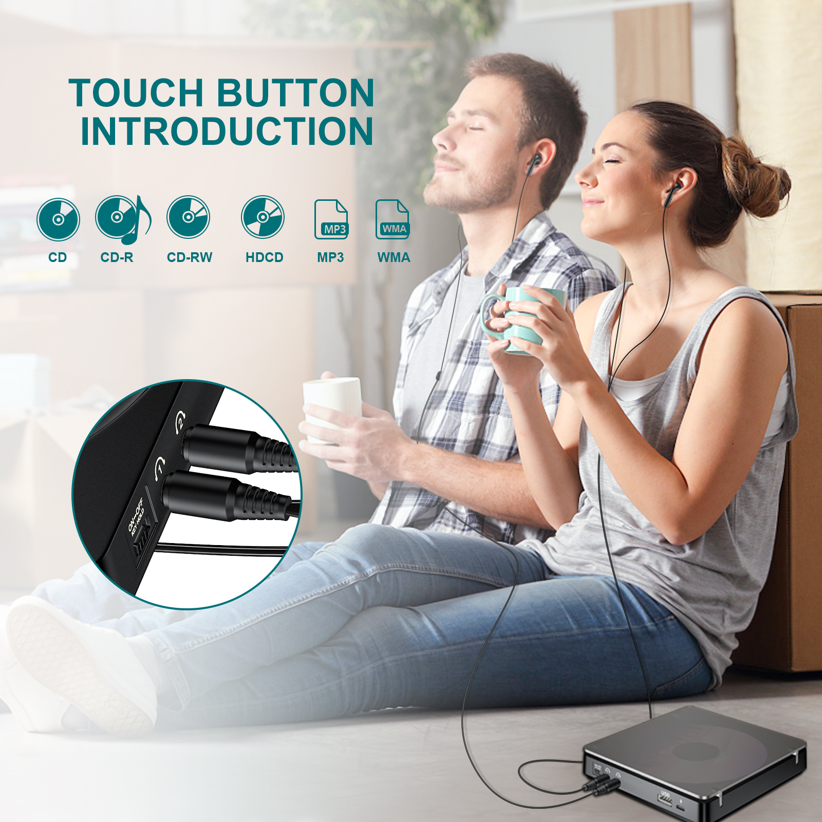 Portable CD Player Double Headphone Version Touch Button Reproductor CD Walkman Discman Rechargeable Shockproof LCD Display 2