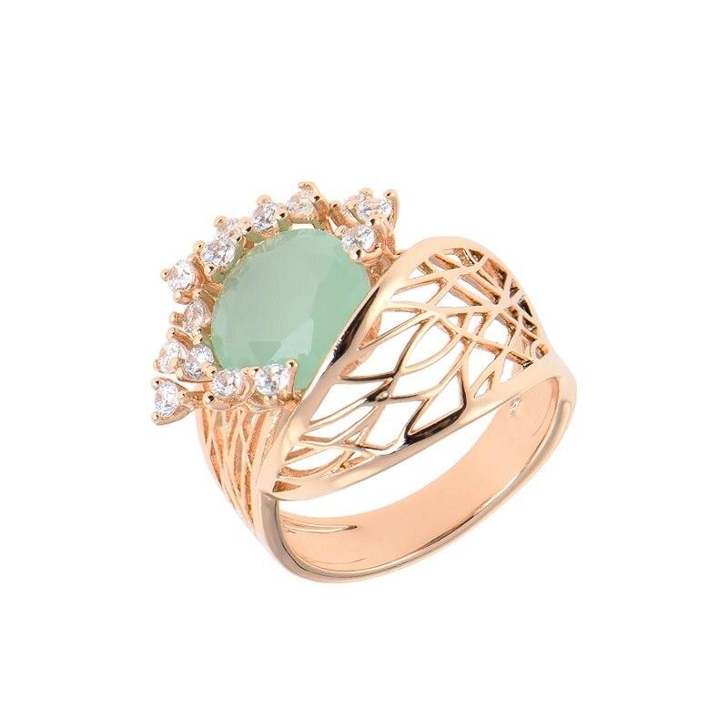 Bijoux de luxe qsy ensembles pour femmes. Belles boucles d'oreilles femme avec pierres. Bague large avec fleur zircon vert - 6