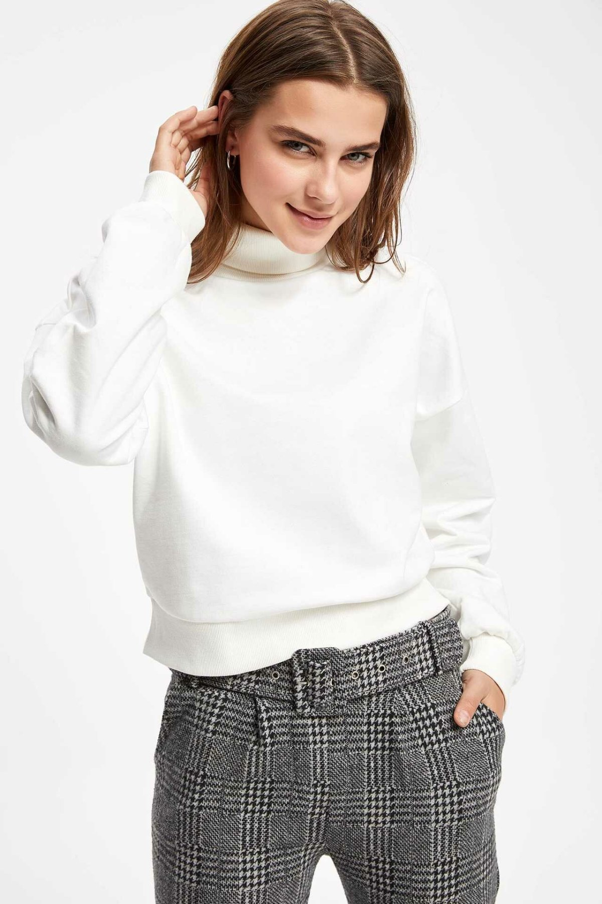 DeFacto Women Fashion Turn-down Collar Knitted Pullovers Short Casual Pullover Long Sleeves Women Tops Autumn New -K7941AZ18CW