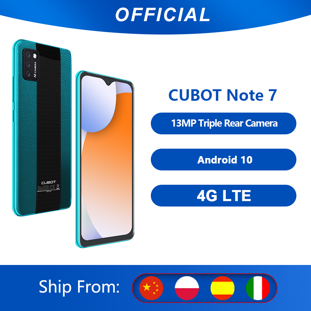 Cubot Note 7 Smartphone Triple Camera 13MP 4G LTE 5.5 Inch Screen 3100mAh Android 10 Dual SIM Card mobile phone Face Unlock-0
